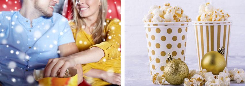 Kino og kaffe! Hvis dere har møtt hverandre noen ganger er det ganske koselig å gå på kino – særlig rundt jul når det romantiske tilbudet pleier å være stort. Avslutt med varm sjokolade og lussekatter!