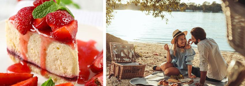 4. Dessert-date! Kjøp eller bak en luksuriøs jordbær-cheesecake og inviter daten. Møt hverandre i solnedgangen på et hustak, eller på et teppe ved vannet.
